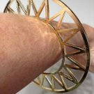 Celestial Geometric Abstract Bracelet Celestial Openwork Sun Design Cuff Gold Zig Zag Tribal Armor