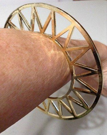 Celestial Geometric Abstract Bracelet Celestial Openwork Sun Design Cuff Gold Zig Zag Tribal Armor