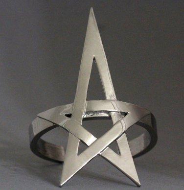 Pentagram Pentacle Bracelet Silver Openwork Cuff Wicca Wiccan Pagan Witch Punk Gothic Goth