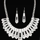 Aurora Borealis Iridescent Rhinestones Necklace & Earrings Set Matte Silver Wedding Bridal