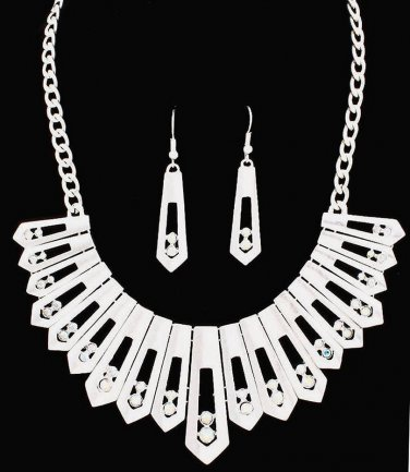 Aurora Borealis Iridescent Rhinestones Necklace & Earrings Set Matte Silver Wedding Bridal