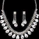 Tear Drop Bridal Necklace & Earrings Set Bib Style Collar Crystals Beads Silver Wedding Statement