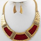 Cleopatra Egyptian Curved Collar Style Necklace & Earrings Set Hammered Red Gold Chain Statement