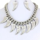 Tusk Horn Tooth Necklace and Earrings Set Celebrity Style Tribal Statement Silver Chunky Armor Chain
