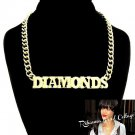"Rihanna Inspired ""Diamonds"" Necklace & Earrings Set Pendant Statement Gold Celebrity Style"