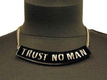 Trust No Man Urban Hip Hop Necklace Earrings Black Gold Statement Pendant Celebrity Designer Style