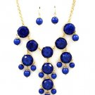 Marble Style Bubble Necklace & Earrings Set Bib Designer Sapphire Blue Beads Gold Chunky Statement