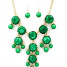 Marble Style Bubble Necklace & Earrings Set Bib Designer Emerald Green Beads Gold Chunky Statement