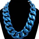 Large Funky Chunky Metallic Blue Chain Necklace Glam Hip Hop Urban Curb Links Statement