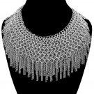 Fringe Multi Layered Tassel Necklace Silver Chains Chunky Celebrity Designer Style Glam Statement