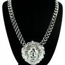 Lion Head Necklace Chunky Silver Curb Chain Urban Hip Hop Embossed Medallion Celebrity Statement