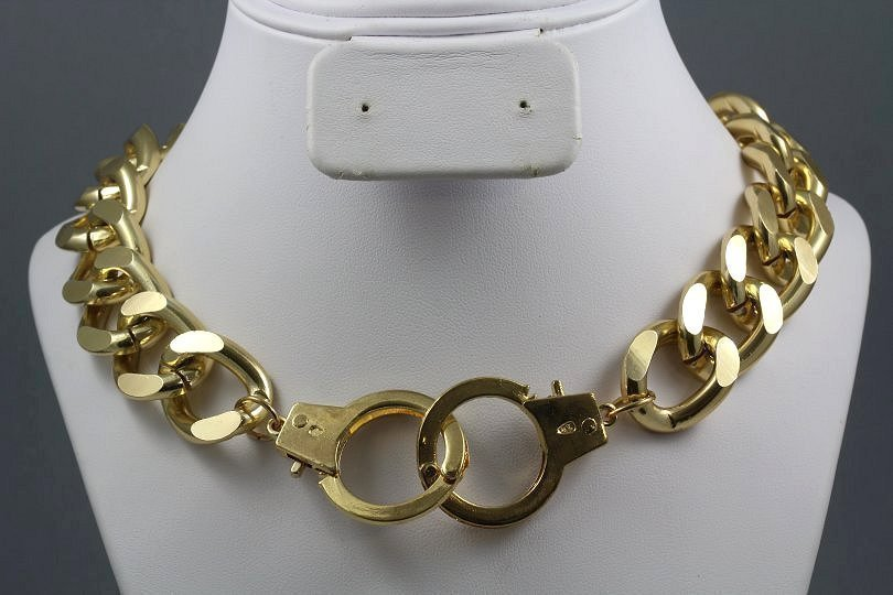 handcuff choker necklace gold cuffs chunky chain designer