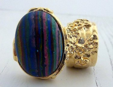 Arty Oval Ring Rainbow Calsilica Gold Knuckle Art Chunky Armor Deco Avant Garde Statement Size 4.5