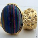 Arty Oval Ring Rainbow Calsilica Gold Knuckle Art Chunky Armor Deco Avant Garde Statement Size 5.5