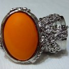 Arty Oval Ring Orange Silver Knuckle Art Chunky Artsy Armor Avant Garde Jewelry Statement Size 8.5