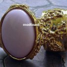 Arty Oval Ring Pastel Pink Gold Knuckle Art Chunky Artsy Armor Avant Garde Statement Size 4.5