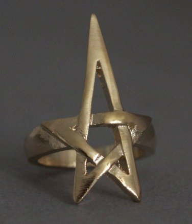Pentagram Pentacle Ring Gold Openwork Wicca Wiccan Pagan Witch Punk Gothic Goth Avant Garde Size 8