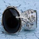 Arty Oval Ring Black Silver Knuckle Art Chunky Artsy Armor Avant Garde Jewelry Statement Size 6