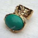 Arty Oval Ring Green Teal Gold Knuckle Art Chunky Artsy Armor Avant Garde Statement Size 4.5