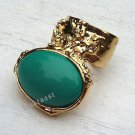 Arty Oval Ring Green Teal Gold Knuckle Art Chunky Artsy Armor Avant Garde Statement Size 5.5