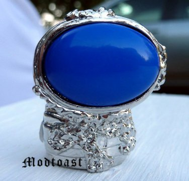 Arty Oval Ring Royal Blue Silver Knuckle Art Chunky Artsy Armor Avant Garde Statement Size 8