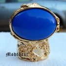 Arty Oval Ring Royal Blue Gold Knuckle Art Chunky Artsy Armor Avant Garde Jewelry Statement Size 4.5