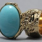 Arty Oval Ring Blue Marble Vintage Swirl Gold Knuckle Art Armor Avant Garde Statement Size 8.5