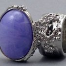 Arty Oval Ring Purple Marble Vintage Swirl Silver Knuckle Art Armor Avant Garde Statement Size 8.5