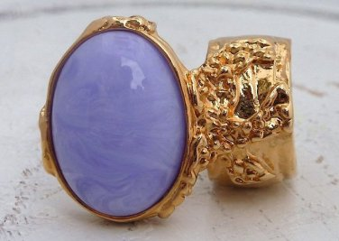 Arty Oval Ring Purple Marble Vintage Swirl Gold Knuckle Art Armor Avant Garde Statement Size 6