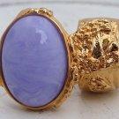 Arty Oval Ring Purple Marble Vintage Swirl Gold Knuckle Art Armor Avant Garde Statement Size 8