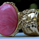 Arty Oval Ring Pink Marble Vintage Swirl Gold Knuckle Art Armor Avant Garde Statement Size 8.5