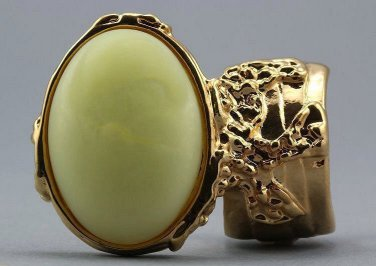 Arty Oval Ring Yellow Silky Matte Vintage Swirl Gold Knuckle Art Avant Garde Statement Size 8