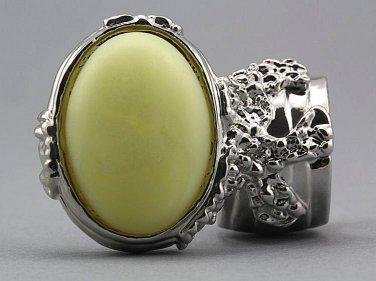 Arty Oval Ring Yellow Silky Matte Vintage Swirl Silver Knuckle Art Avant Garde Statement Size 5