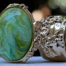 Arty Oval Ring Green Yellow Swirl Gold Vintage Knuckle Art Avant Garde Artsy Statement Size 4.5