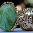 Arty Oval Ring Green Yellow Swirl Gold Vintage Knuckle Art Avant Garde Artsy Statement Size 10