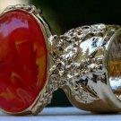 Arty Oval Ring Orange Yellow White Swirl Gold Vintage Knuckle Art Avant Garde Statement Size 4.5