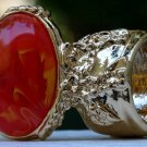 Arty Oval Ring Orange Yellow White Swirl Gold Vintage Knuckle Art Avant Garde Statement Size 5.5