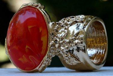 Arty Oval Ring Orange Yellow White Swirl Gold Vintage Knuckle Art Avant Garde Statement Size 6