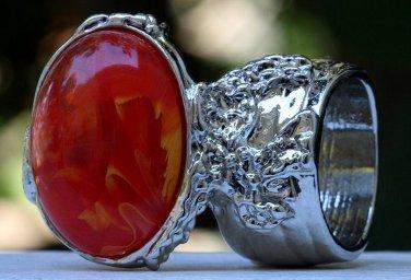Arty Oval Ring Orange Yellow White Swirl Silver Vintage Knuckle Art Avant Garde Statement Size 6