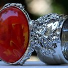 Arty Oval Ring Orange Yellow White Swirl Silver Vintage Knuckle Art Avant Garde Statement Size 8.5