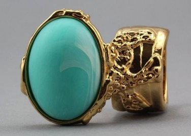 Arty Oval Ring Seafoam White Matte Swirl Gold Knuckle Art Avant Garde Chunky Statement Size 4.5