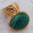 Arty Oval Ring Green Emerald Marble Swirl Gold Knuckle Art Avant Garde Chunky Statement Size 5.5