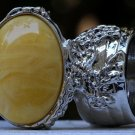 Arty Oval Ring Yellow Marble Swirl Silver Vintage Knuckle Art Avant Garde Chunky Statement Size 8.5