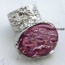 Arty Oval Ring Rose Metallic Iridescent Pink Silver Vintage Knuckle Art Deco Statement Size 5