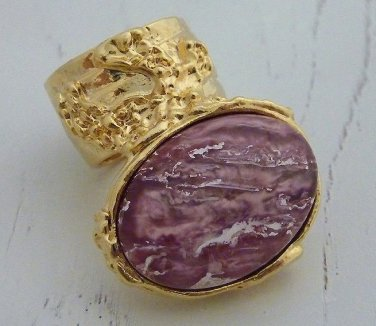 Arty Oval Ring Rose Metallic Iridescent Pink Gold Vintage Knuckle Art Deco Statement Size 8.5