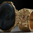 Arty Oval Ring Blue Brown Black Marble Swirl Gold Vintage Knuckle Art Deco Statement Size 4.5