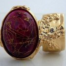Arty Oval Ring Hot Pink Gold Drizzle Knuckle Art Deco Avant Garde Designer Chunky Statement Size 5.5