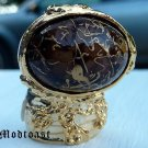 Arty Oval Ring Brown Gold Drizzle Knuckle Art Deco Avant Garde Designer Chunky Statement Size 8.5