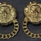 Lion Head Door Knocker Earrings Chunky Urban Celebrity Statement Gold Tribal Queen of the Jungle