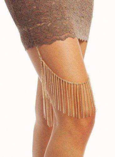 Fringe Leg Chain Gold Tassel Celebrity Runway Style Boho Garter Gypsy Armor